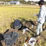 堂ヶ山町の水田での土壌調査(2)