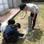 水田土壌のカラム実験 (1) 実験用カラムに水田土壌を充填
